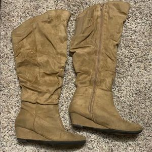 Faux suede slouch boots